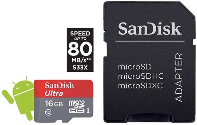 SanDisk Secure Digital Micro SDHC 16GB Ultra 80 MB/s Class 10 UHS-I + adaptér