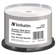 Verbatim CD-R 80 52x Printable Wide Silver Inkjet spindl 50ks