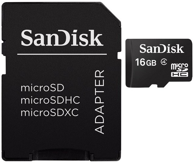 Sandisk Secure Digital Micro, SDHC Micro 16GB Class 4 + Adapter